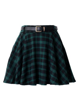 Green Plaid Skirt