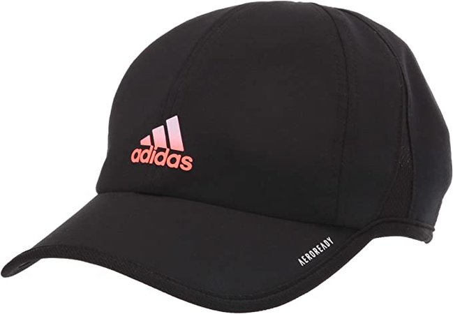 adidas Women's Superlite Relaxed Adjustable Performance Cap, Black/Signal Coral/Purple Tint, ONE SIZE