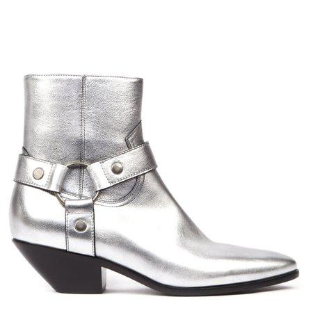 Saint Laurent West Silver Leather Ankle Boots