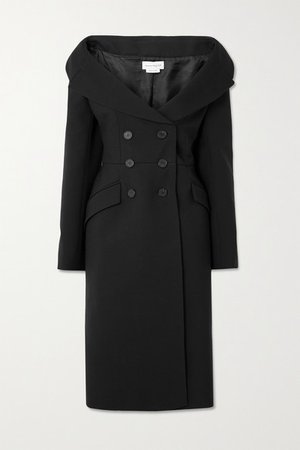 Double-breasted Wool-blend Coat - Black