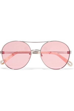 Chloé Aviator-style gold-tone sunglasses, $375