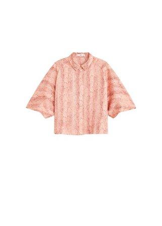 MANGO Printed crop shirt