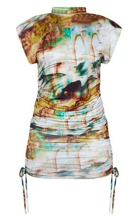 Green Marble Slinky Sleeveless High Neck Dress   PrettyLittleThing USA