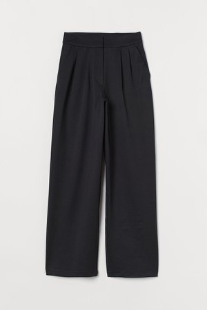 Wide-cut Pants - Black