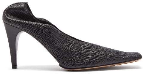 Square-toe Crackled-leather Pumps - Womens - Black