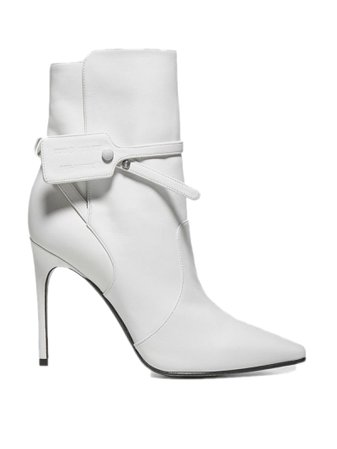 Off-White White Calfskin Ankle Boots
