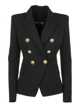 Balmain Double-breasted Black Wool Blazer