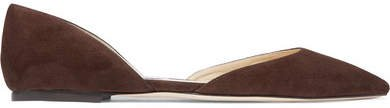 Esther Suede Point-toe Flats - Dark brown