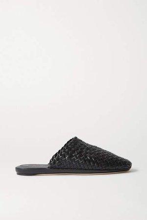 Intrecciato Leather Slippers - Black