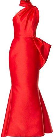 Isabel Sanchis asymmetric fishtail gown