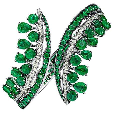 18 Karat White Gold, White Diamonds and Ethically Sourced Emeralds Bracelet