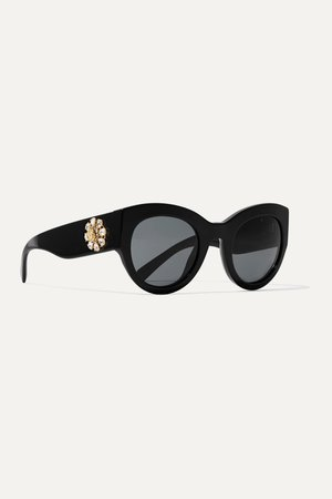 Black Cat-eye crystal-embellished acetate sunglasses   Versace   NET-A-PORTER