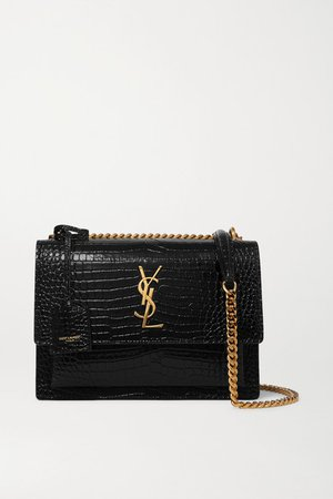 Sunset Small Croc-effect Patent-leather Shoulder Bag - Black