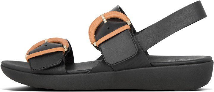 Annelia Buckle Leather Back-Strap Sandals