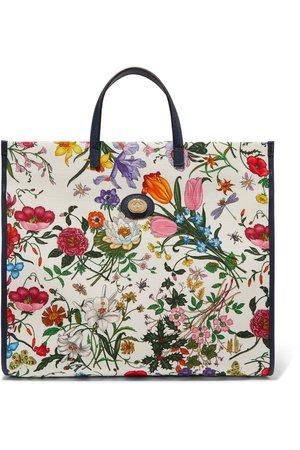 Gucci   Flora large leather-trimmed floral-print canvas tote   NET-A-PORTER.COM