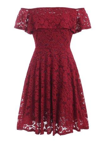 [37% OFF] Off Shoulder Flounces Lace Dress | Rosegal