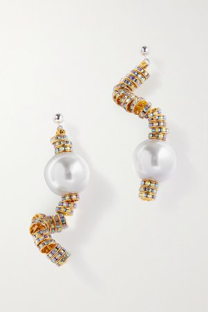 Gold Snake gold-plated, crystal and faux pearl earrings | PEARL OCTOPUSS.Y | NET-A-PORTER