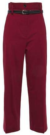 Cropped Belted Wool-blend Straight-leg Pants