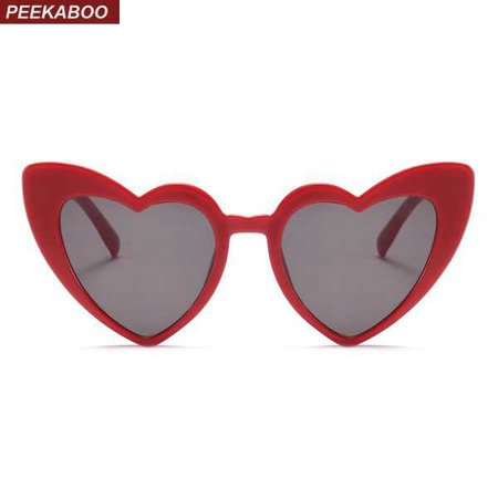 Peekaboo love heart sunglasses women cat eye vintage Christmas gift black pink red heart shape sun glasses for women uv400 - Sunglasses Store