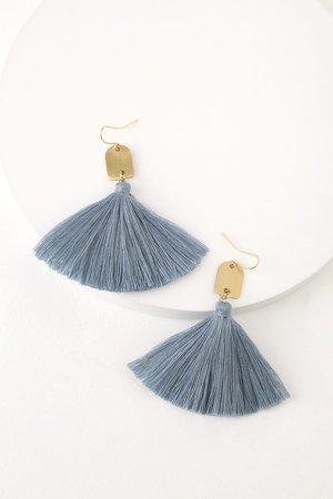Cute Earrings - Slate Blue Earrings - Tassel Earrings - Earrings