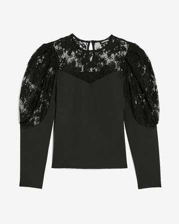 Lace Inset Crew Neck Top | Express