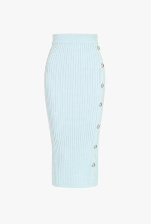 Long Pastel Green Buttoned Knit Skirt for Women - Balmain.com