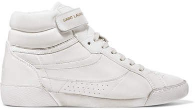 Lenny Logo-print Distressed Leather High-top Sneakers - White
