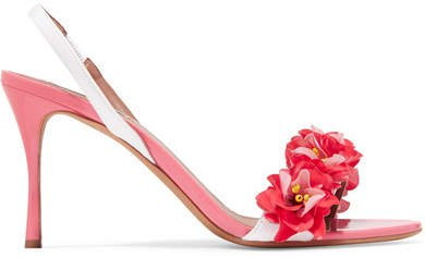 Follie Embellished Patent-leather Slingback Sandals - Pink