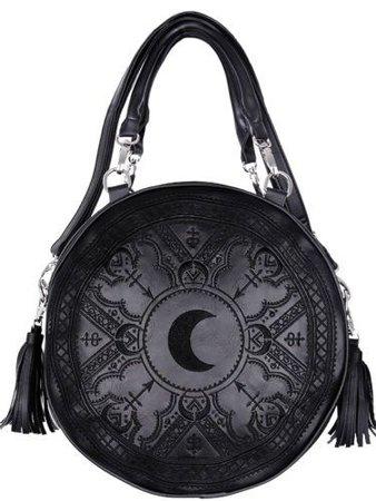 Black round moon henna bag false leather