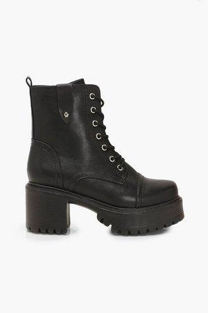 Loop Back Block Heel Lace Up Hiker Boots | Boohoo black