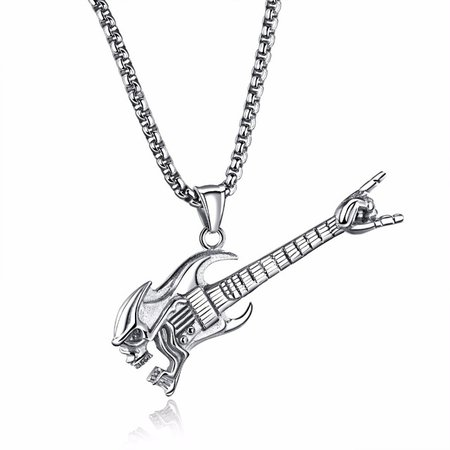Long Guitar Necklace with Victory Sign Electric Guitar Necklace in Stainless Steel Music Jewelry Silver, Gold-in Pendant Necklaces from Jewelry & Accessories on Aliexpress.com | Alibaba Group