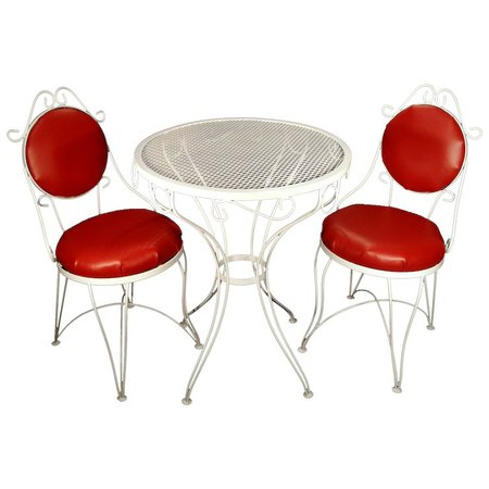 Vintage Mid Century Red White Wrought Iron Ice Cream Parlor Patio : Utiques Antiques | Ruby Lane