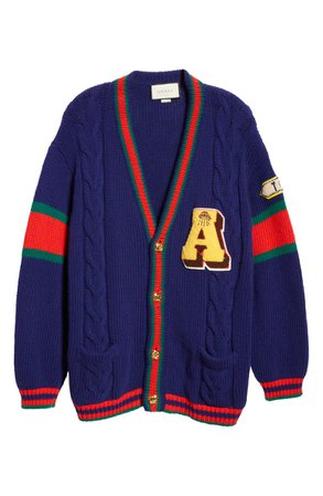 Gucci Wool Cable Knit Varsity Cardigan | Nordstrom