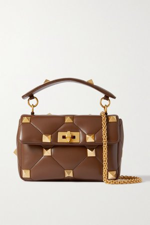 Brown Valentino Garavani Roman Stud quilted leather shoulder bag   VALENTINO   NET-A-PORTER