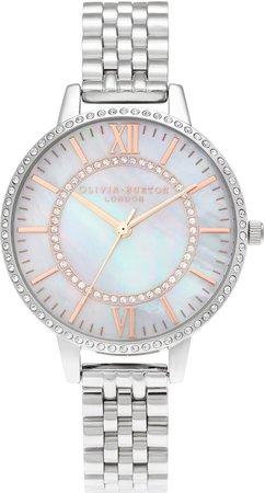 Sparkle Blush Sunray Bracelet Watch, 34mm