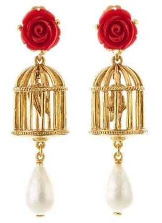 Red Rose Pearl Birdcage Gold earrings jewelry
