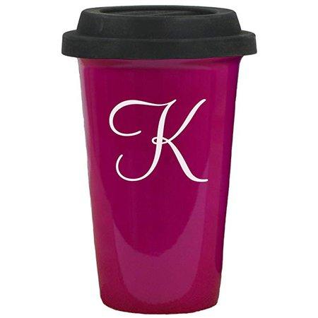 Amazon.com: Pink Ceramic Travel Mug, 14 oz., Black Silicon Lid, Initial K Engraved: Kitchen & Dining