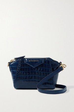 Antigona Nano Croc-effect Leather Shoulder Bag - Navy