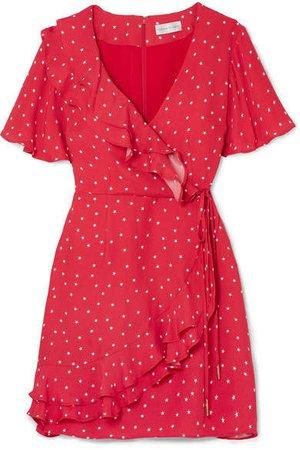 Flores Ruffled Printed Crepe Wrap Mini Dress - Red