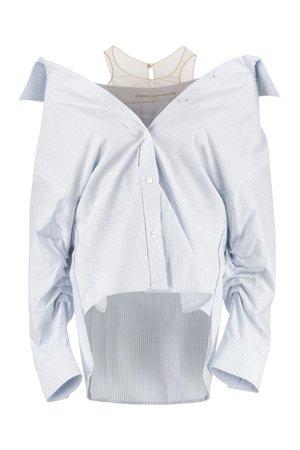 Alexander Wang Striped Cotton Draped Shirt