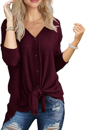 IWOLLENCE Womens Loose Henley Blouse Bat Wing Long Sleeve Button Down T Shirts Tie Front Knot Tops Wine Red Medium at Amazon Women's Clothing store