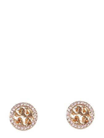 Tory Burch Circle-stud Crystal Logo Earrings