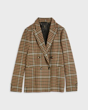 Check double-breasted jacket - Camel   Suits   Ted Baker