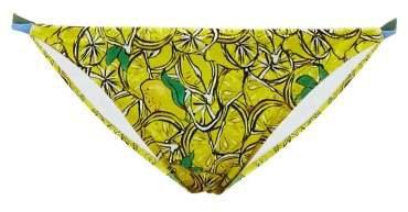 Halle Lemon Print Bikini Briefs - Womens - Yellow Multi