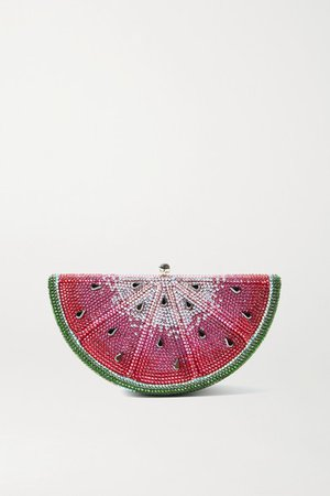 Slice Watermelon Crystal-embellished Silver-tone Clutch - Pink