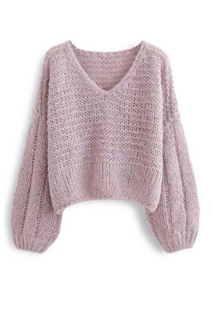 Fluffy Knit Hollow Out Crop Sweater in Dusty Pink - Retro, Indie and Unique Fashion