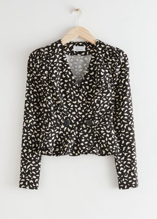 Buttoned Peplum Wrap Blouse - Black Print - Blouses - & Other Stories