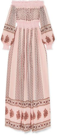 Off-the-shoulder Shirred Lace-trimmed Printed Silk-georgette Gown - Blush