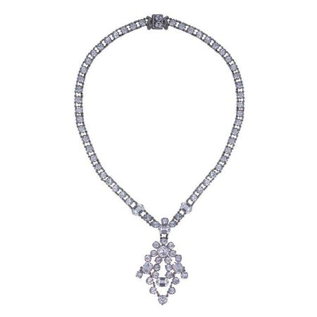 Deco Crystal Necklace with Pendant For Sale at 1stdibs