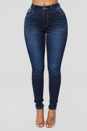 High Rise Skinny Jeans - Dark Denim - Jeans